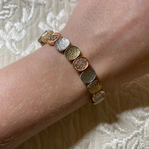 Gold, Rose Gold, and Silver Bracelet with Crystals